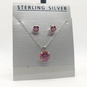Pink Crystal Sterling Silver Necklace and Earrings